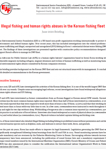 Illegal fishing and human rights abuses in the Korean fishing fleet