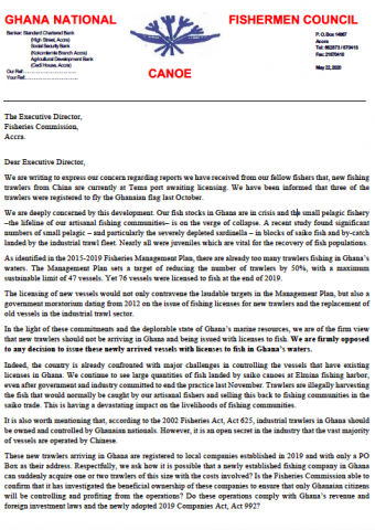 Open letter opposing new trawler licences from the Ghana National Canoe Fishermen Council