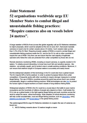 """Joint Statement - 52 organisations worldwide urge EU Member States to combat illegal and unsustainable fishing practices: """"Require cameras also on vessels below 24 metres"""""""
