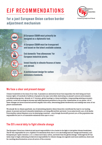 EJF's recommendations for a just European Union carbon border adjustment mechanism